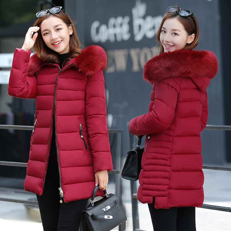 Women Thick Warm Long Winter Jacket Women Parkas 2017 Faux Fur Collar Hooded Cotton Slim Winter Coat Female DQ172326 women s thick warm long winter jacket women parkas 2017 faux fur collar hooded cotton padded coat female cotton coats pw1038