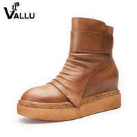 Flat Ankle Boots Shoes Woman Height Increasing Ladies Boots Genuine Leather Handmade Vintage Zipper Women S