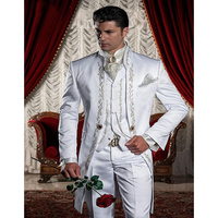 Custom Made White Embroidery Groom Men Suit Tuxedos Stand Collar Groomsmen Man Wedding Suits Jacket Pant