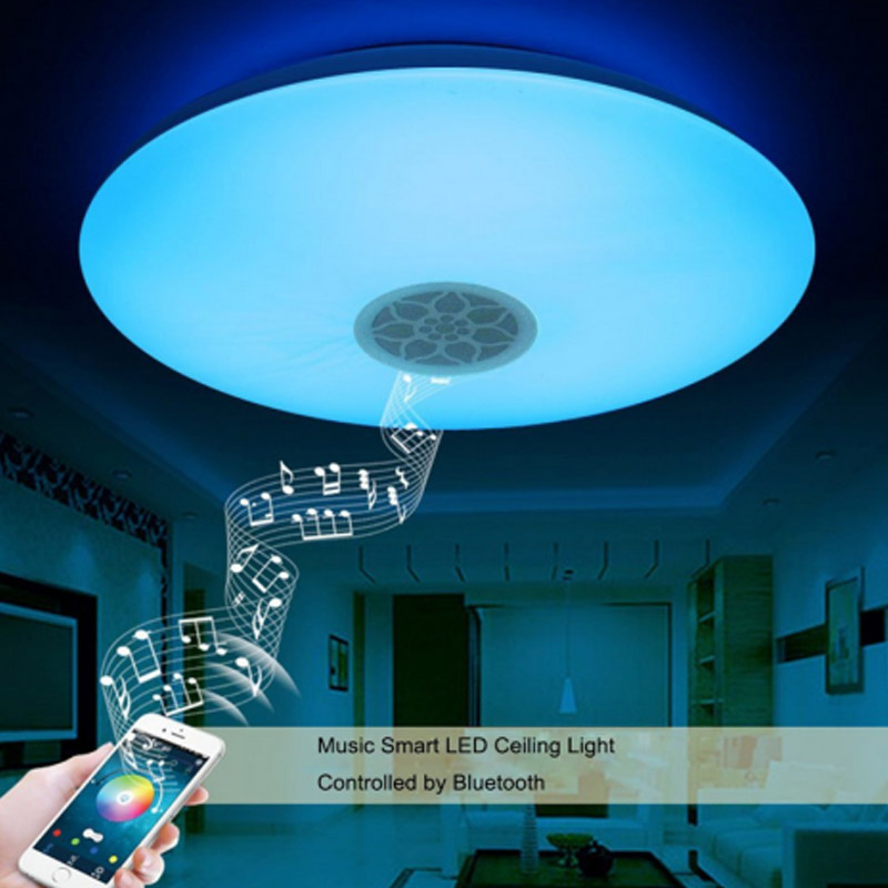 RGBW Music Smart LED Ceiling Lamp Dimmable Bluetooth Modern Home Light APP Bedroom Bathroom Living Room Luminaria Fixture 2016new magic blue 4 5w e27 rgbw led light bulb bluetooth 4 0 smart lighting lamp color change dimmable ac85 265v for home hotel