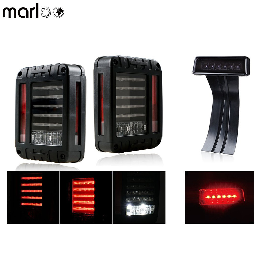 Marloo For Jeep Wrangler JK JKU 2007 - 2017 Clear Lens Red LED Tail Light w/ Turn Signal & Back Up & Smoke 3rd LED Brake Light newest design led tail light black with smoke lens led tail light for jee p wrangler jk jku 2007 2016