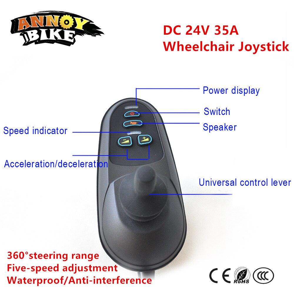 DC Escovado 24 V 35A Joystick Controlador De Cadeira De Rodas Elétrica Motor Scooter Com Freio Eletromagnético Mobilidade Knob Aperto Remoto