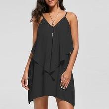 501de4abf155 (Ship from US) feitong 2019 Women Summer Dress Casual Sleeveless Overlay  Flowy Ruffles V-Neck Solid Camis Mini Dresses Beach Sundress