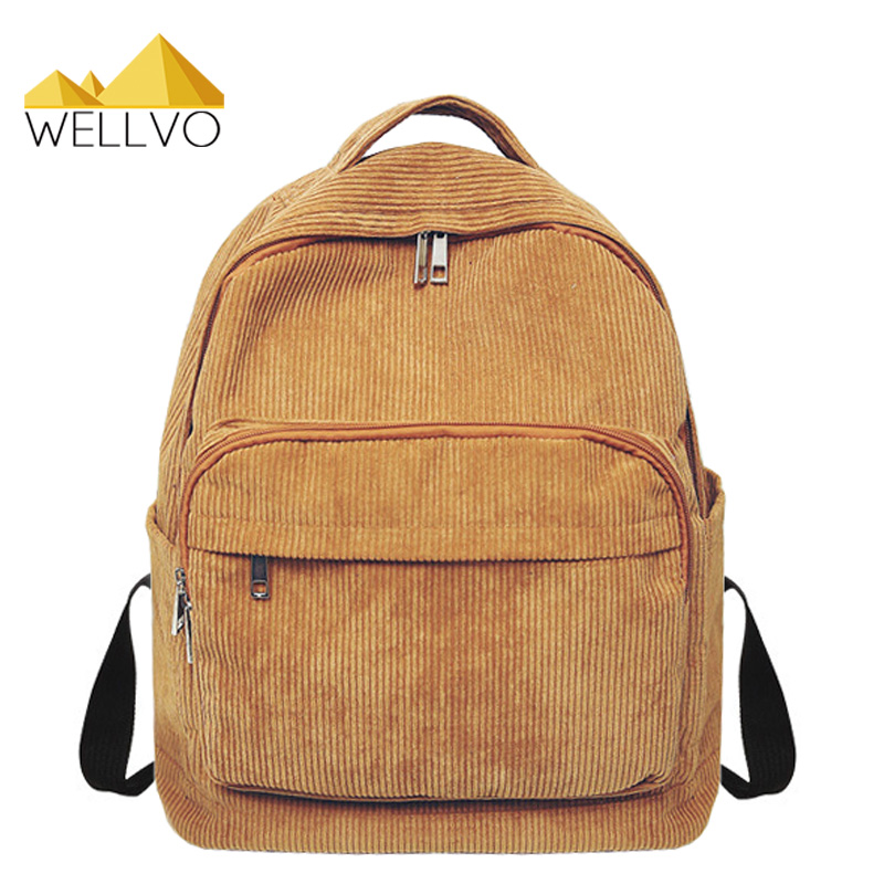 Women Backpack Solid Corduroy Backpack Simple Backpack School Bags For Teenage Girls Students Shoulder Bag Travel Bag XA2047C corduroy goes to school
