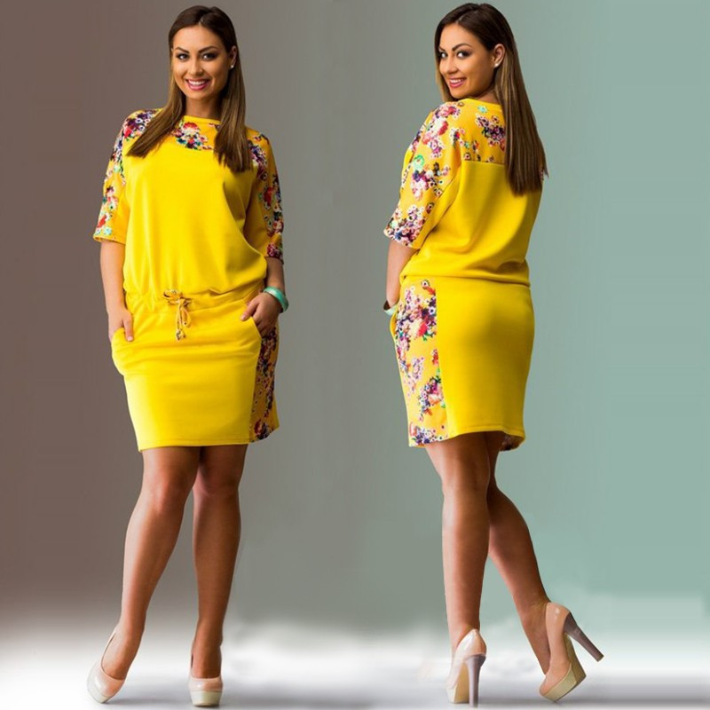 Women 39 s Dress Plus Size Xxxl 4xl 5xl 6xl Floral Print Large Size Casual Short Sleeve Summer Dresses 2018 Yellow Dress Robe Femme in Dresses from Women 39 s Clothing