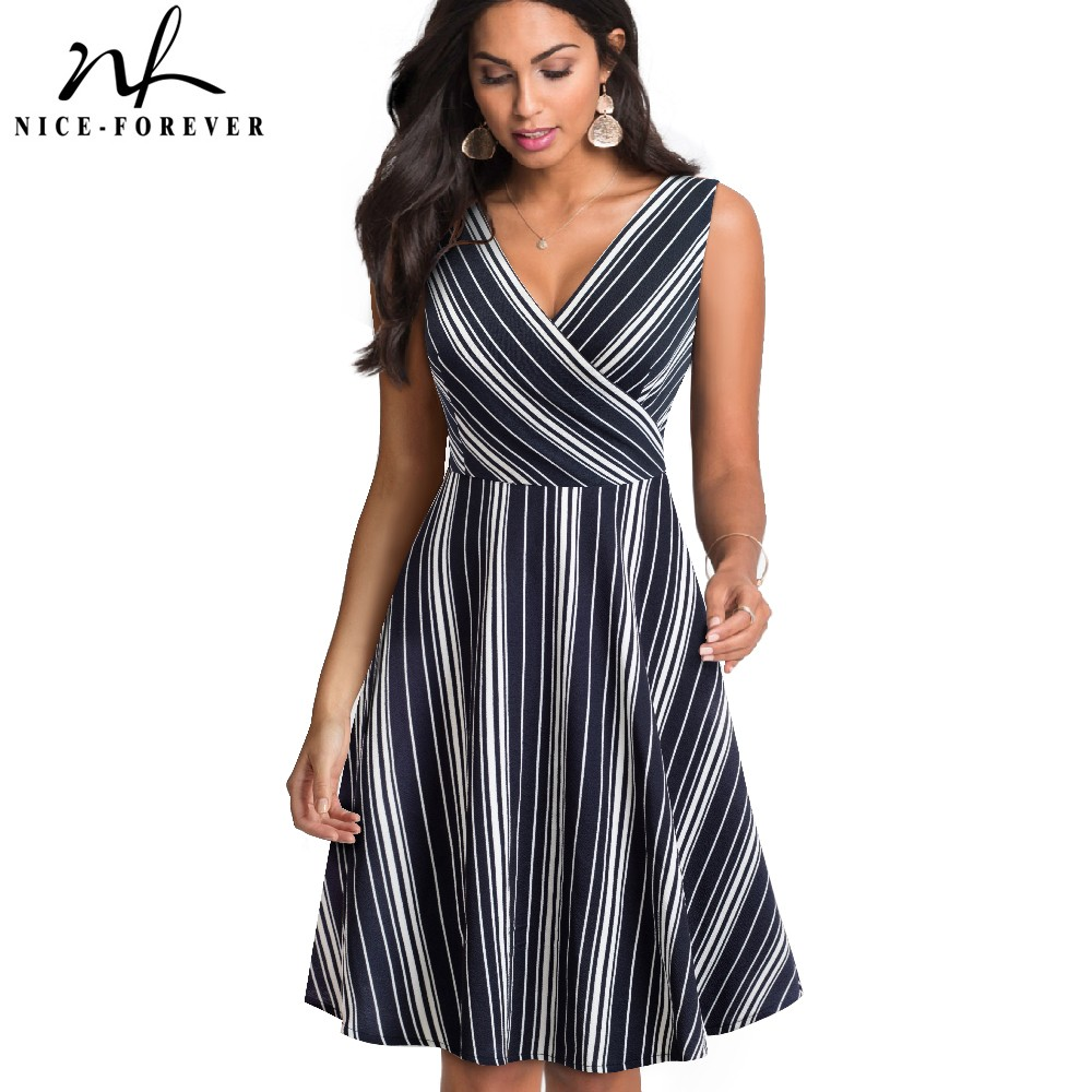 Nice-forever Vintage Stripes Printed Sexy V neck Pinup vestidos A-Line Business Woman Party Flare Summer Dress A097