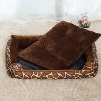 New All Seasons Breathable Cotton Material Pet Leopard Striped Sofa Bed Suitable For Small Medium Large