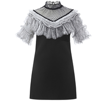 NEW ARRIVAL 2018 Fshion show Small High Neck dress Butterfly Lace Patchwork Mesh Mini Dress Black and White Dress
