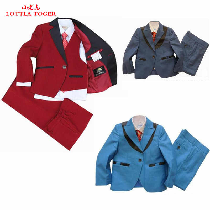 4ピース男の子スーツレインボーページェントドレスウエディングスーツ赤結婚式スーツ用男の子tuexdo子供服セット男の子フォーマル男の子ブレザー