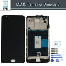 100% Nuevo Original Para Oneplus 3 LCD Pantalla Táctil Digitalizador Asamblea con Marco Completo Para Oneplus 3 tres Herramientas de regalo