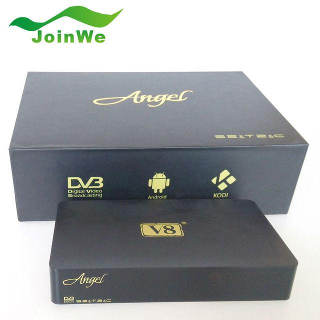Ángel V8 Android 4.4 CAJA de la TV con el Sintonizador DVB-S2 T2/C OTT IPTV En Vivo En Línea Addons XBMC preinstalado Amlogic S805 1 GB 8 GB