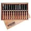 KSEIBI 312141 Industriële Grade Houtbewerking Carving Hout Beitel Set Houten Handvat 12-Stukken Hardhouten Handgrepen W/staal adereindhulzen