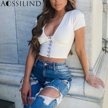 AOSSILIND Buttons Skinny Cropped T Shirt Women Summer White Crop Top Sexy V-Neck Short Sleeve Ribbed Slim tshirt Streewear