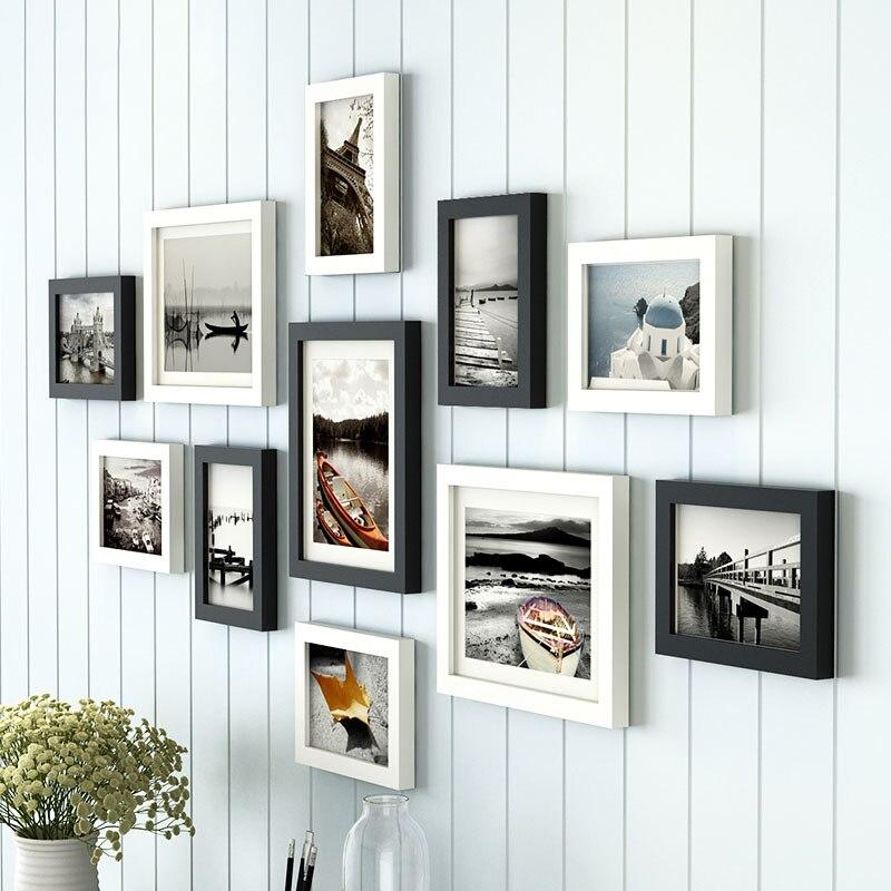 11 unids/lote madera Multi marco de fotos marcos pared colgar ...