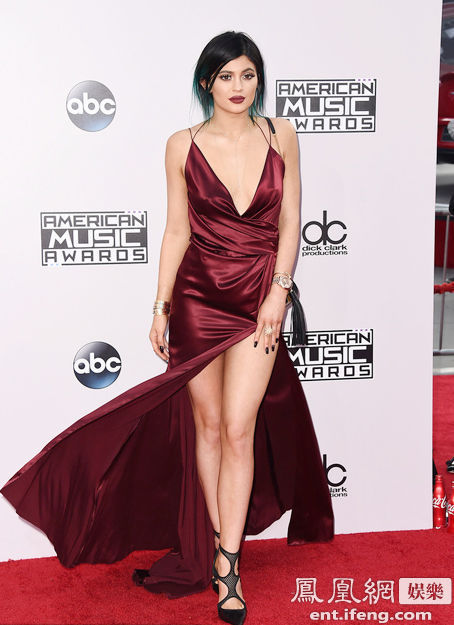 Kylie Jenner Promoción 2017 AMA V,cuello Magnífico Vestidos de Noche Vestidos de La Celebridad
