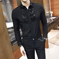 2017 del Resorte del Estilo Británico Camisas de Vestir Camisa de manga Larga Camisa Masculina Social Paillette Moda Camisas Slim Fit Club de Trajes