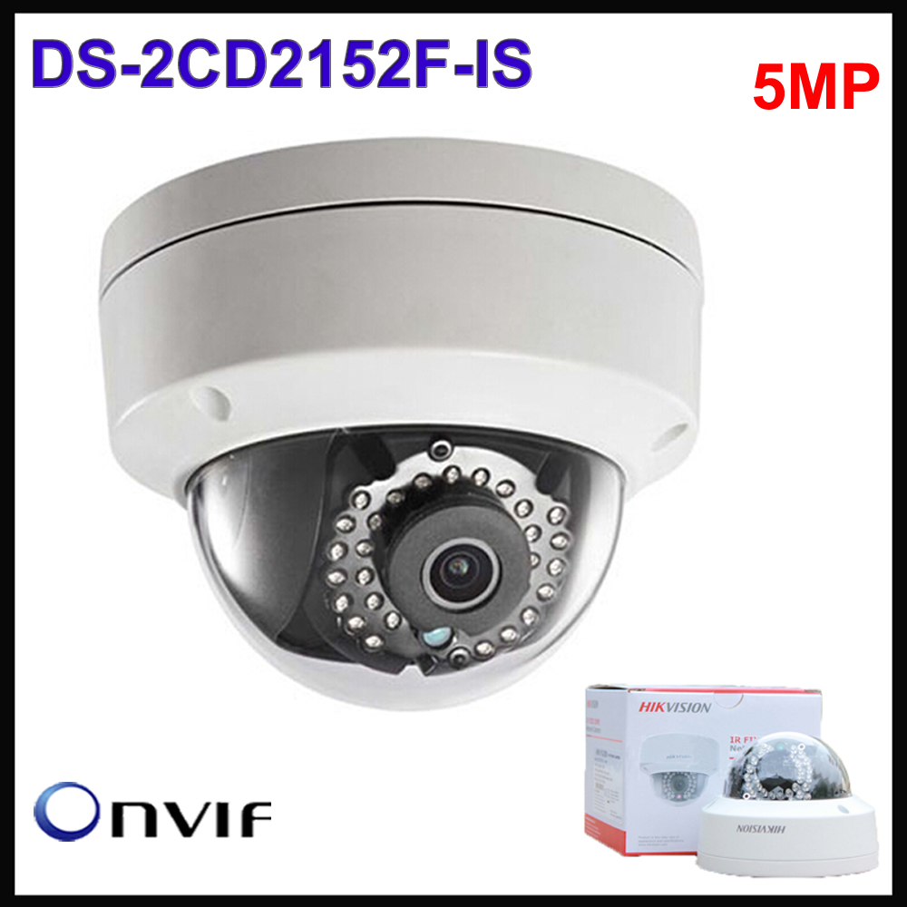 free shipping Hikvision Dome Camera English Version DS-2CD2152F-IS H.264+ 5MP fixed Network cctv Camera IP66 ip security camera free shipping in stock new arrival english version ds 2cd2142fwd iws 4mp wdr fixed dome with wifi network camera