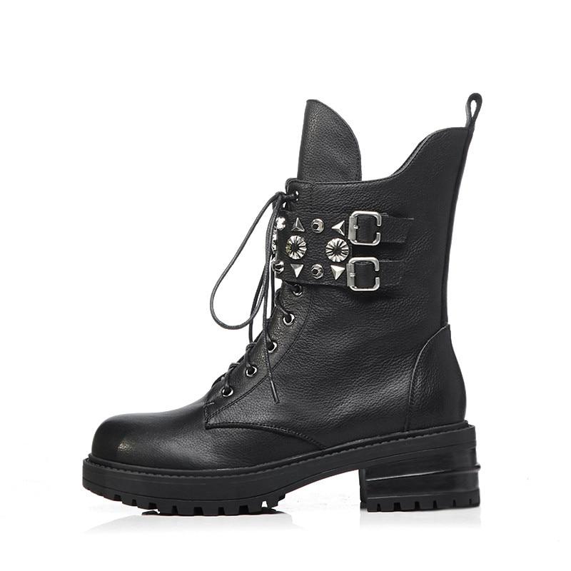 black En Talons Pour Véritable Up Lace Femmes Bottes Bout Rivet Masgulahe Rond Noir With Cuir Med Moto Zip Fur Fur Cheville De Black Mode Not qwqvfaB