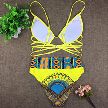 High-Waisted Women's Swimsuit with African Style Ornament