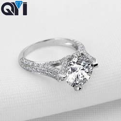 QYI 3,5 ct 925 пробы серебро модные украшения кольца круглой огранки Циркон обручение обручальное кольцо для женщин подарок