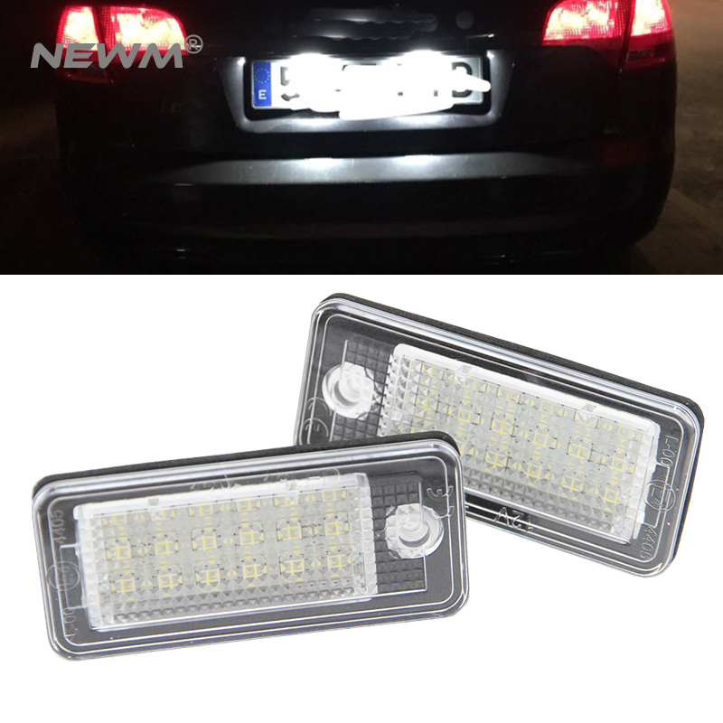 Canbus LED License plate light number plate lamp for Audi A3 A4 S4 RS4 B6 B7 A6 RS6 S6 C6 A5 S5 2D Cabrio Q7 A8 S8 RS4 Avant 2pcs 18 led 6000k license number plate light lamp12v for audi a3 s3 a4 s4 b6 b7 a6 s6 a8 q7 no canbus error