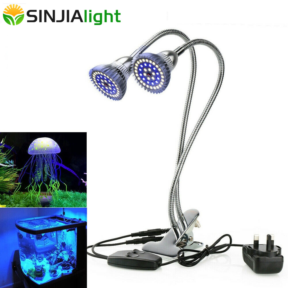 Aquarium Light For Fish Tank Plants 24W Aquatic Plant Grow Lights White Blue LED Aquarium Lamp Dual Head With Clip Phytolamp