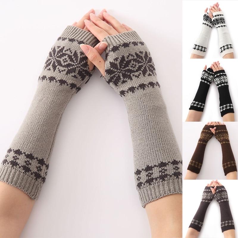 Winter Schneeflocke Muster Arm Warme Gestrickte Fingerless Lange Handschuhe Für Frauen Mädchen Entlastung Von Hitze Und Sonnenstich Damen-accessoires