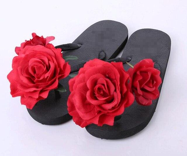 e3923db40afbfa 2017 New Summer Women s Sandals Open Toe New Shoes Woman Flip Flops Red  Rose Flower Sandals Beach Slippers Flat shoes