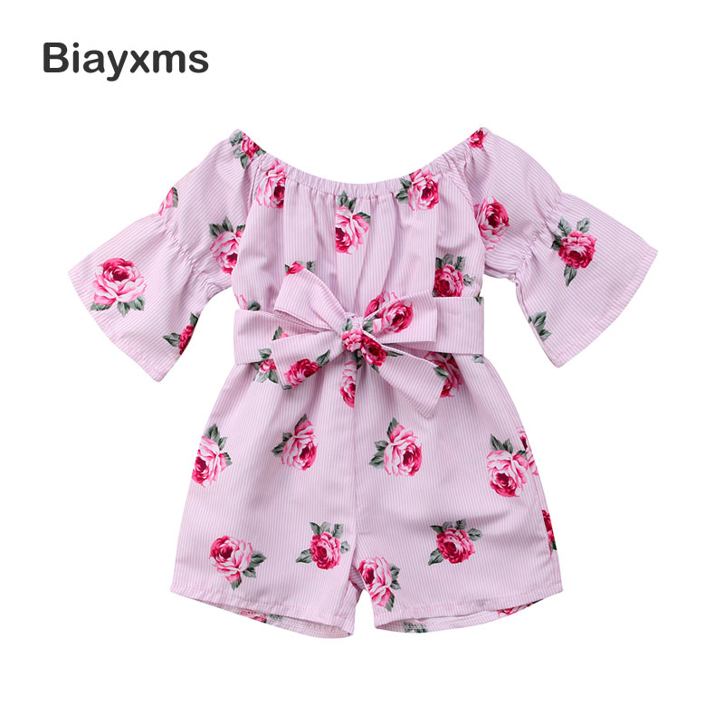 Fashion Baby Girl Flower Clothing Rompers Off Shoulder Flare Sleeve Loose Bow Floral Jumpsuit Playsuit Sunsuit Party Clothes D15