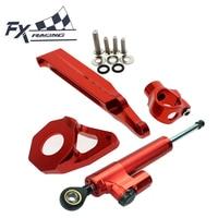 CNC Aluminum Motorcycle Steering Stabilizer Damper Mount Kit Bracket Support Complete Set For Honda CBR600RR CBR 600RR 2005 2006