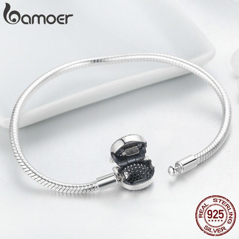 Image 4 - BAMOER 100% 925 Sterling Silver Cute Cat Glittering CZ Snake  Strand Chain Bracelets for Women Sterling Silver Jewelry SCB053Charm  Bracelets