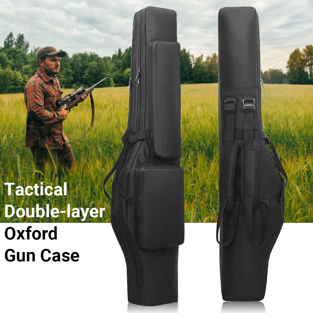 Tactical 120CM Dual Rifle Bag Backpack Gun Carry Bag Pouch Airsoft Shotgun Gun Padded Case Holster