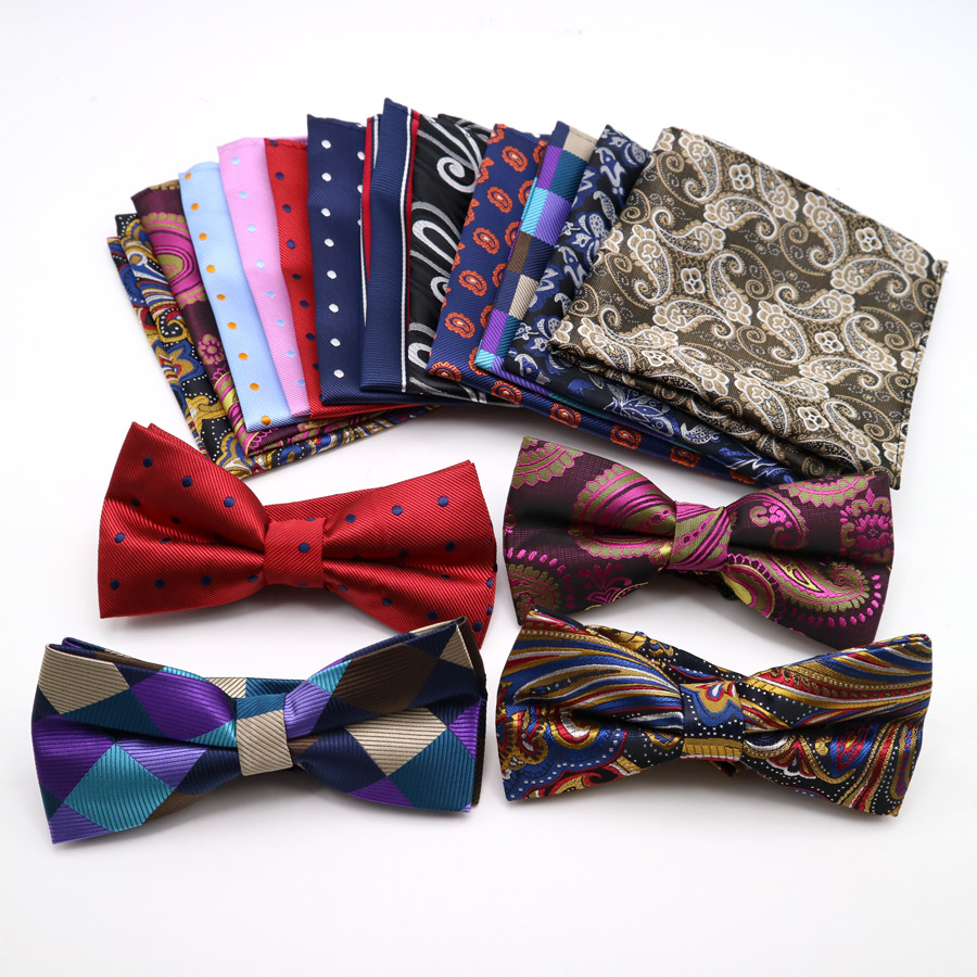 Classic Men's Floral Polka Dot Pocket Square Bows Tie Set Adjustable Handkerchief Bowtie Sets Wedding Party Necktie Hanky Lot