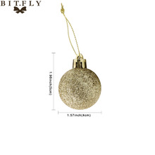 BITFLY 16pcs 4cm Round Christmas Tree Decor Ball Bauble Hanging Xmas diy Party Home Christmas Ornament decoration gold silver