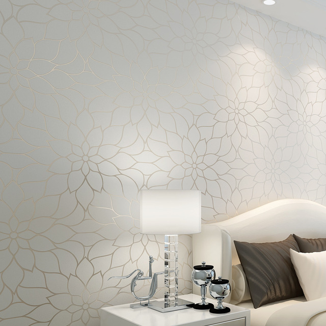 3 D Wallpaper White Flowers style wallpapers Home Decoration wall paper  DIY Roll Wallpaper papel de parede  10 meter