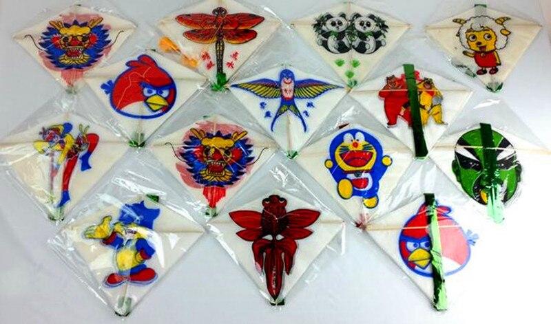 Китайский традиционный Алмазный мультяшный воздушный змей с хвостами, 10 воздушных змеев в серии, 10 шт./лот, детский воздушный змей