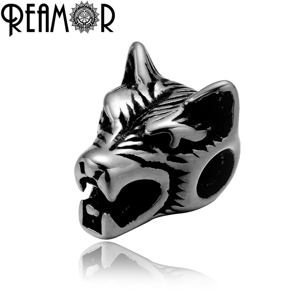 REAMOR 2mm Hole 316l Stainless Steel Wolf Head Beads Charms Spacer Beads for Beaded Bracelet Jewelry Making DIY Accessories 5pcs