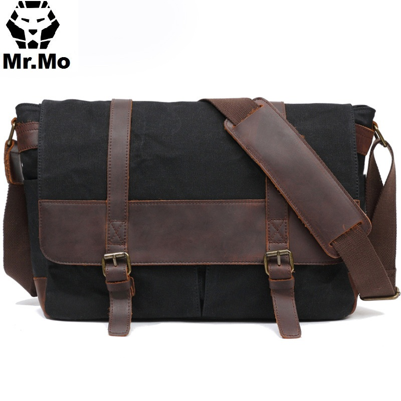 ed351385a New Men Vinatge Italian Design Canvas Leather Crossbody Shoulder Male  Laptop Satchel Document Briefcase Messenger Side Bags-in Crossbody Bags  from Luggage ...