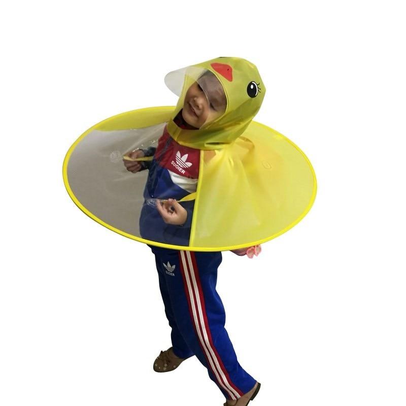 Yellow Duck Kids Raincoat Ufo Cap Umbrella Automatic