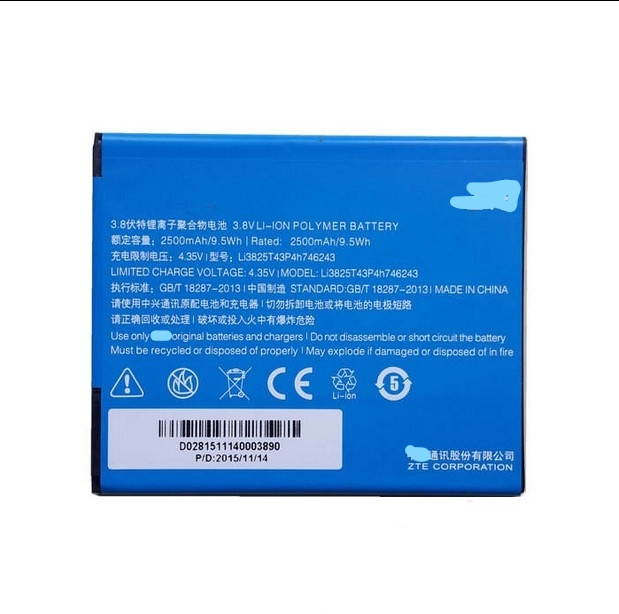 3 8V 2500mAh Li3825T43P4h746243 For ZTE 3C N928DT Battery in Mobile Phone Batteries from Cellphones Telecommunications