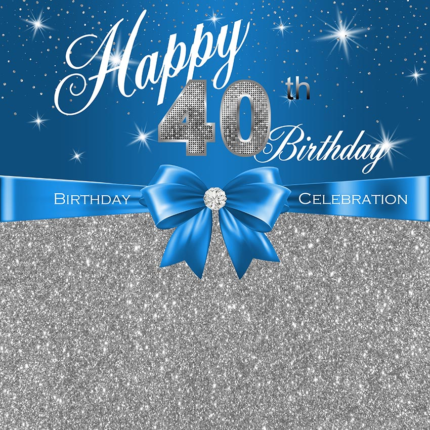sparkly happy 40th birthday blue silver sequins diamond