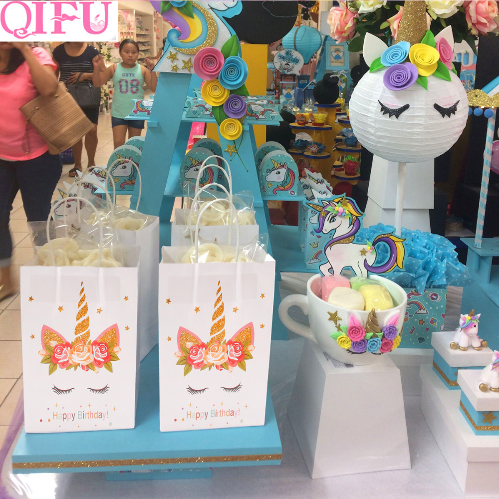 QIFU Goodie Bags Unicorn Paper Bags With Handles Kraft Paper Bag Paper Gift Bag Popcorn Box Candy Box Wedding Unicorn Party Deco