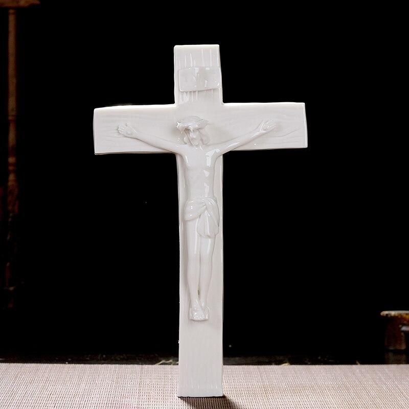 Jésus chrétien catholique saint crucifix en céramique pendentif ornements décor cadeau ameublement esprit Immanuel agneau de dieu croix