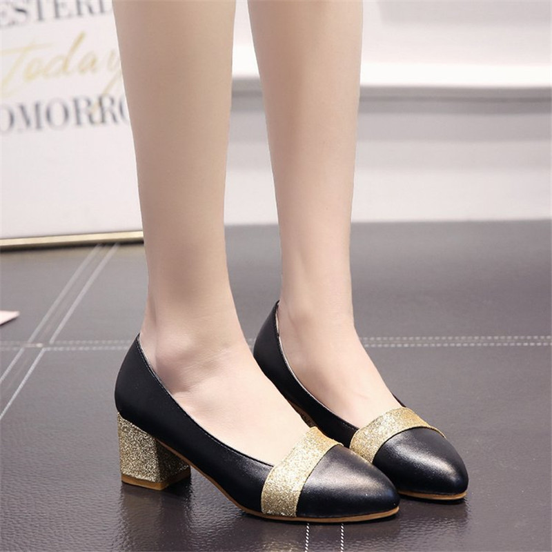 Woman Dress Shoes OL Office Lady Shoes Patent Leather High Heels Women Shoes Square Heeled Pumps Ladies Shoes sapato feminino in Women 39 s Pumps from Shoes