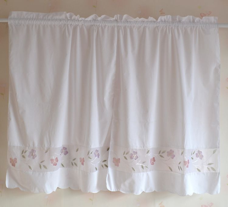 2pcs/ Set American Country Style Embroidery Coffee Curtain