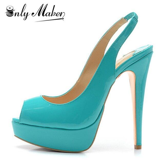 dc453500fd39 Onlymaker Women s Sandals Shoes 16cm Thin Heel Peep Toe Pumps Sandals multi  colour 3cm Platform Sexy Sandals Plus Size 15