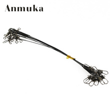 Anmuka 10Pcs Fly Fishing lead Line Connector Leader Wire lead line Assortment Sleeve and Stainless Steel Rolling Swivels 12-28cm