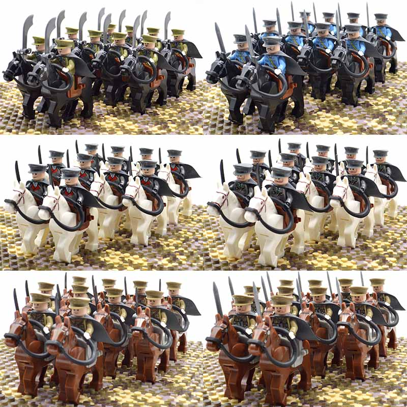 WW2 Military Officers Cavalry War Horse France Italy German Japan US UK China Russia Soldiers Building Blocks Bricks Kids Toys