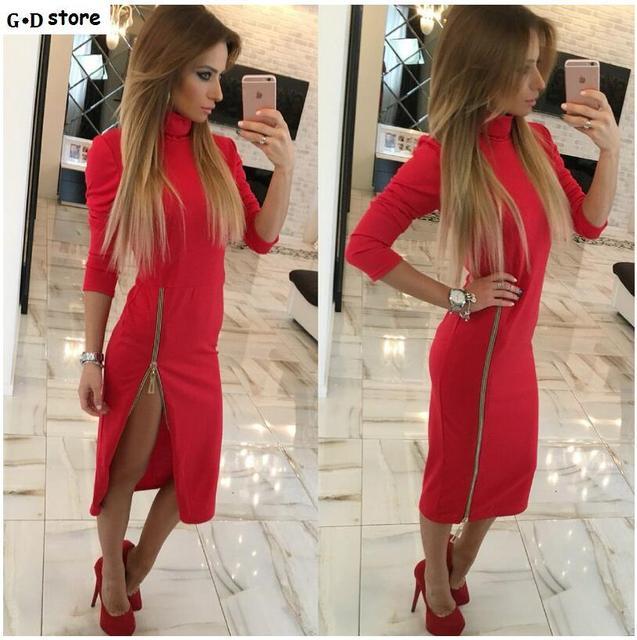 Plus Size Robe Sexy Femme Midi Bodycon Dress Long Sleeve Elegant