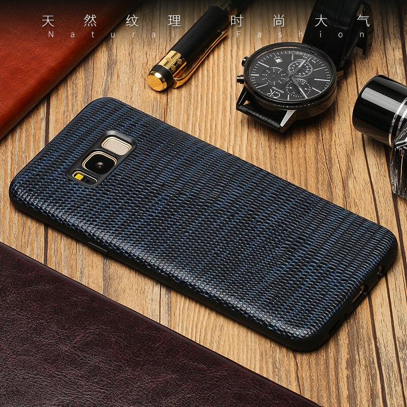 Véritable Cas de Téléphone En Cuir Pour Samsung Galaxy S7 S8 S9 Plus Note 8 9 Cas Lézard Texture Couverture Arrière Pour a3 A5 A7 2017 J5 j7 Cas